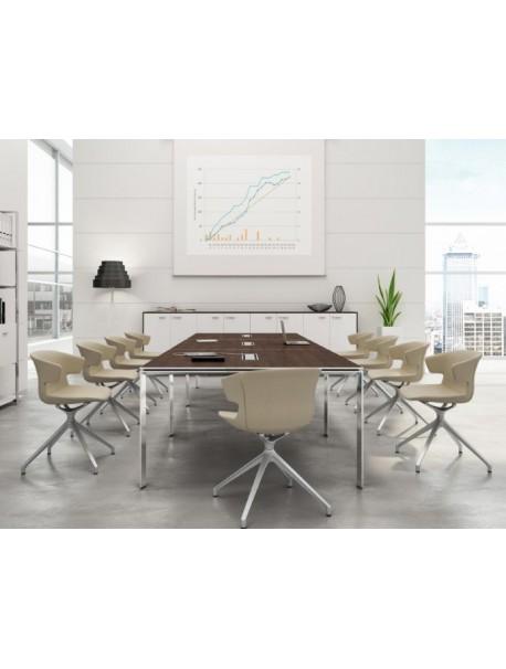 Table de réunion modulaire CRISTAL - Wengé/Chromé