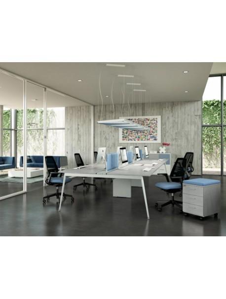 Bureau Bench 6 personnes ICONIC - Gris/Blanc