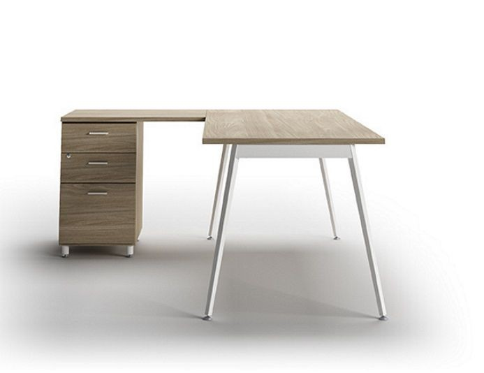 Bureau d'angle avec rangement 3 tiroirs ICONIC - Orme/Blanc