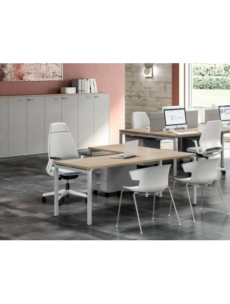 Bureau d'angle en bois IDEA 01 - Chêne/Aluminium