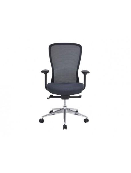 Chaise de bureau design dossier résille CONFORT - Noir/Gris anthracite