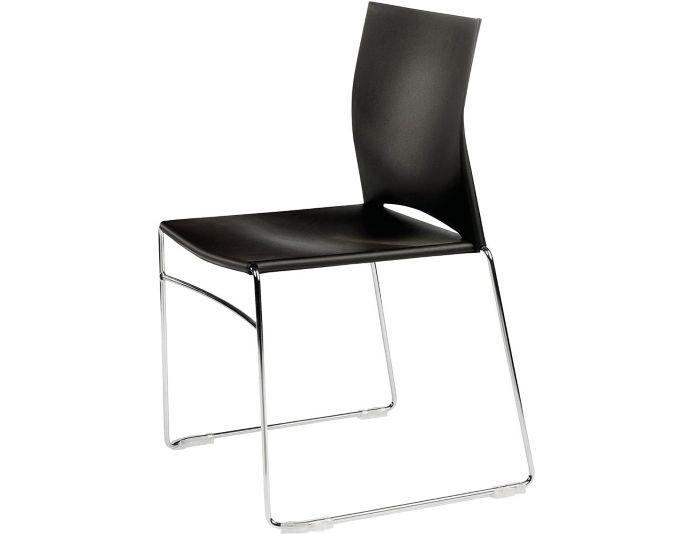 Chaise avec coque en polypropylène JILL - Noir