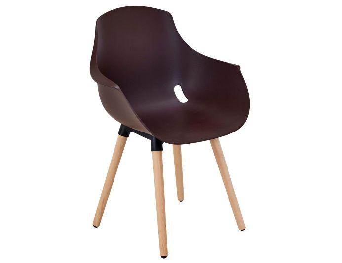Chaise polypropylène ZAHE piétement bois - Noir