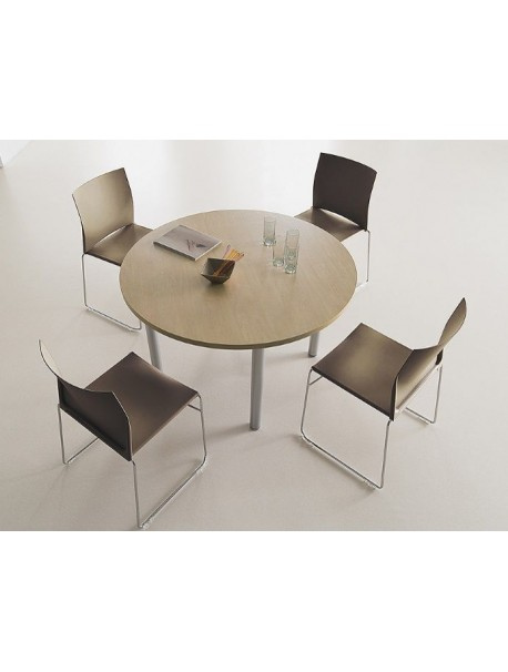 Table de réunion ronde Ø 120 cm TIM - Merisier/Argenté