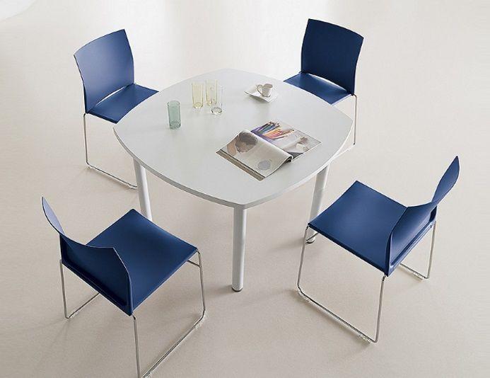 Table de réunion carrée 110x110cm TIM - 4 personnes - Blanc