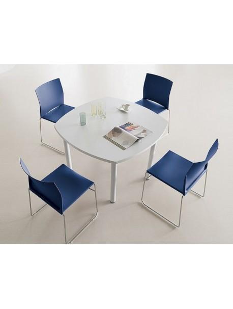 Table de réunion carrée pas cher TIM - Blanc