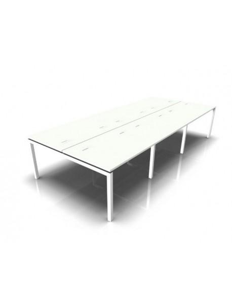 Bureau bench 6 personnes TEOS - Blanc