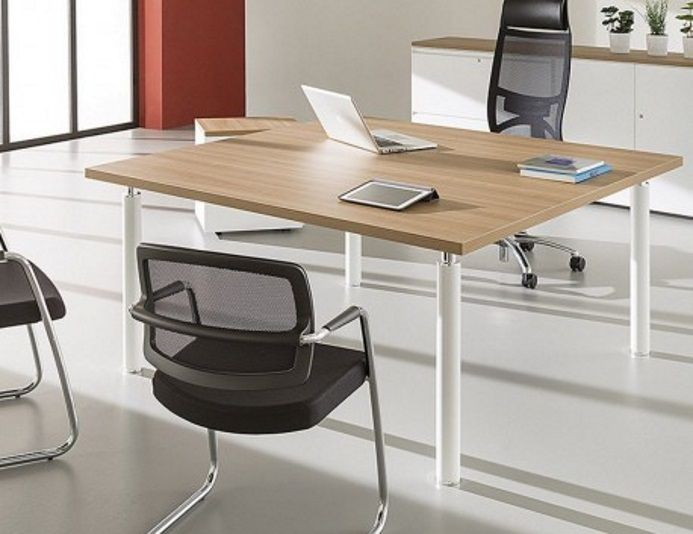 Bureau carré professionnel 160 x 160 TIM'UP - Merisier Naturel/Blanc
