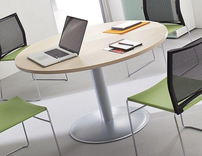 Table de réunion ronde avec pied central métallique PREM'S