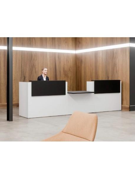 Banque d'accueil FIFTY-FULL avec module PMR central - Blanc/Noir