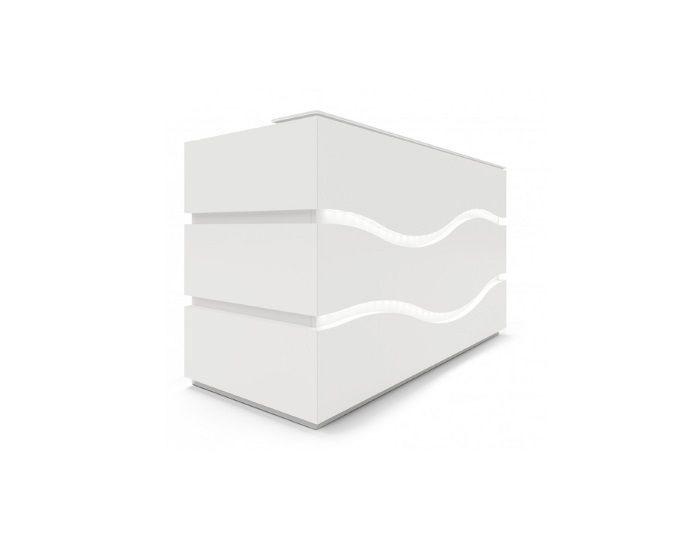 Banque d'accueil haute pour 1 personne avec éclairage LED RIVAGE - Blanc