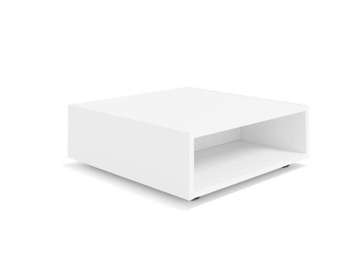 Table basse carrée sur roulettes avec niches de rangement CARRO - Coloris Blanc - BURONOMIC
