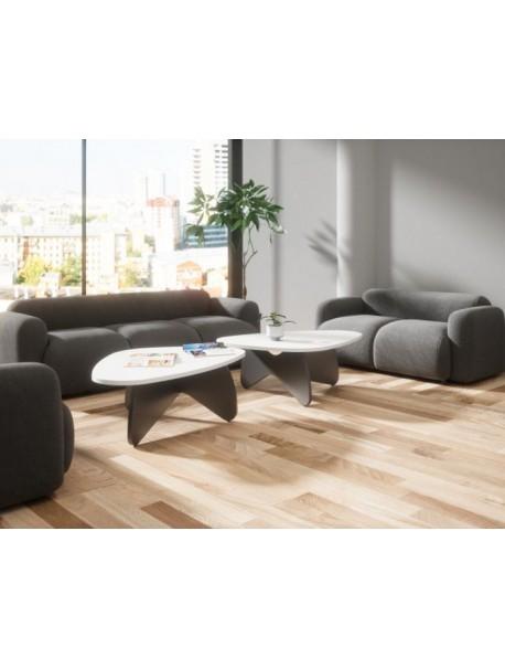 Table basse bois arrondie 120 x 80 cm GALET - Blanc/Noir