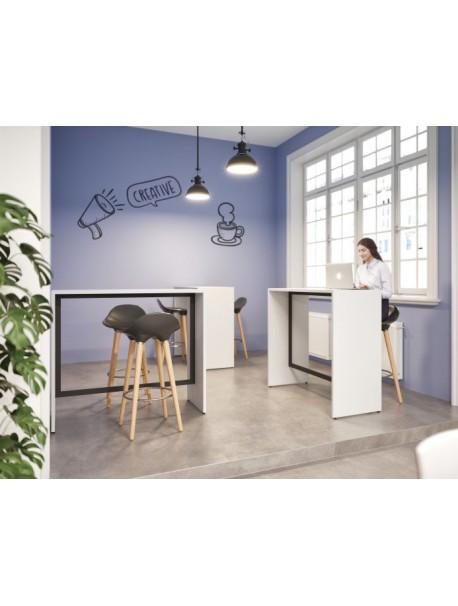 Table haute bois métal rectangulaire piétement plein DETENTE - Blanc/Noir