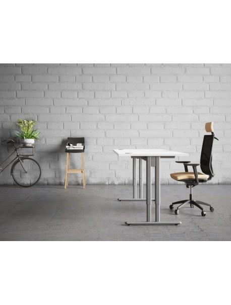 Bureau droit hauteur réglable ESSENTIEL - Blanc/Aluminium