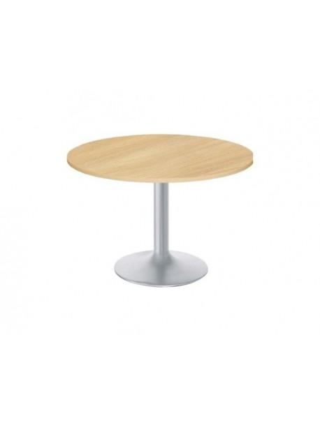Table de réunion ronde AROUND - Chêne clair/Aluminium