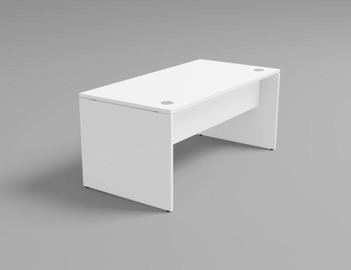 Bureau simple en bois piétement plein RETRO blanc