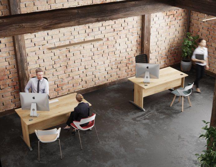 Bureau simple en bois RETRO piétement L - Chêne Nebraska