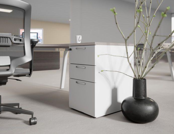 Caisson hauteur bureau 3 tiroirs COMFORT - Blanc