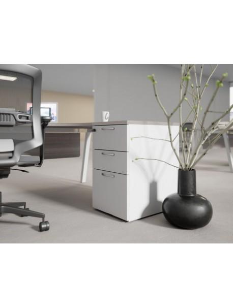 Caisson hauteur bureau 3 tiroirs blanc COMFORT