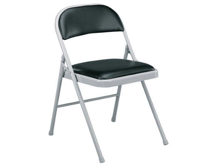 Lot de 4 chaises pliantes cuir noir PLIUS