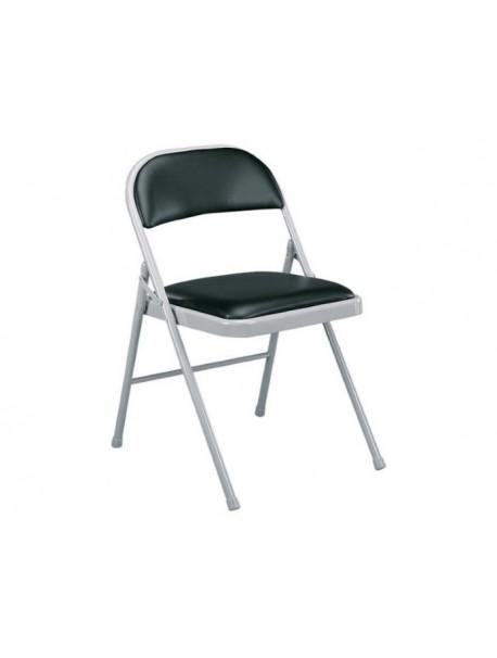 Chaise pliante cuir noir PLIUS
