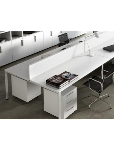Bureau bench pour 2 personnes iPOP P164 cm - blanc