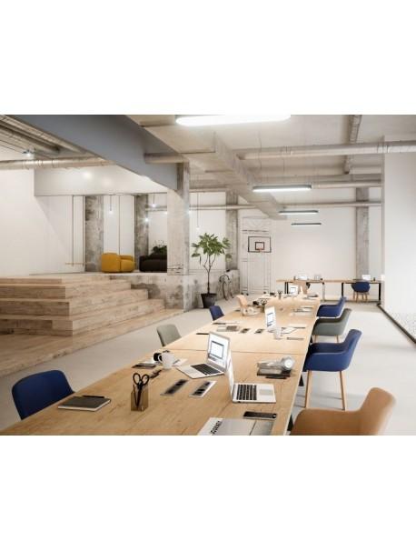 Table de réunion design COHESION - Chêne Nebraska/Noir