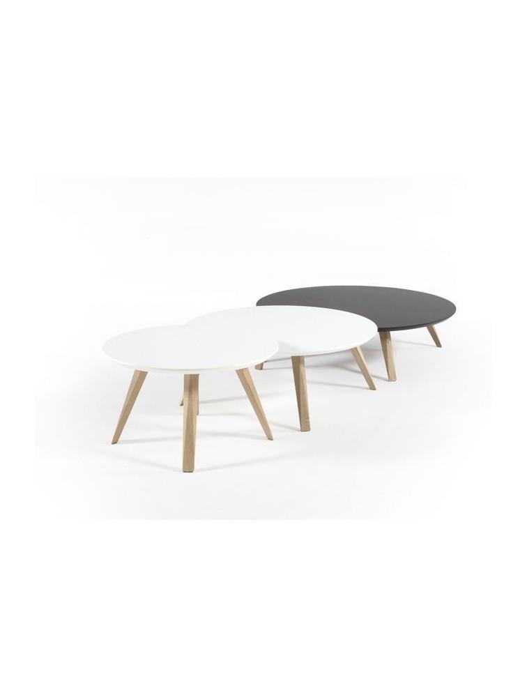 Table basse ronde mdf laqu oblique delex mobilier for Mobilier laque contemporain table basse