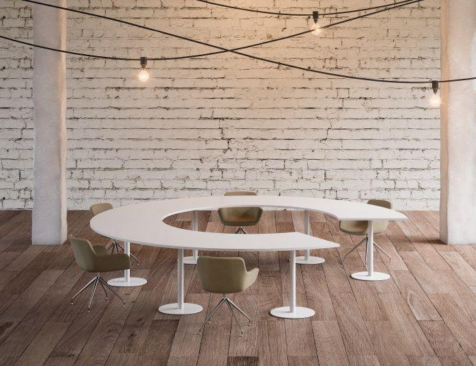 Table de réunion pour 10 personnes CERCLE PRIDE - Blanc