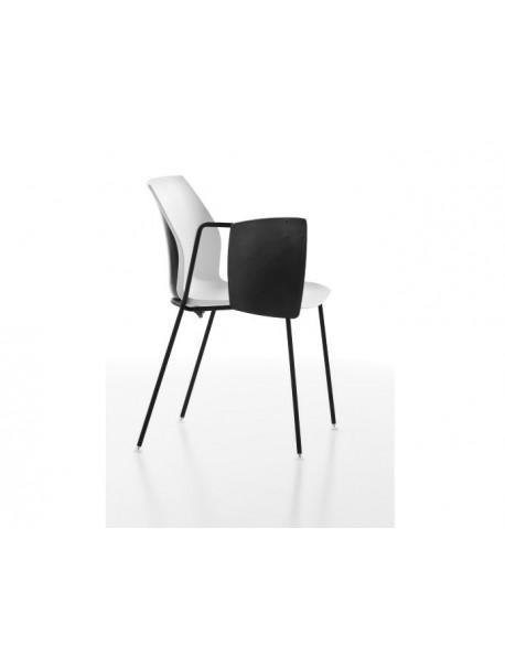 Chaise avec tablette rabattable POLY - Blanc/Noir