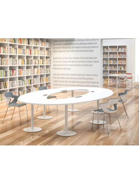 Table de réunion ovale SUCCES - Blanc