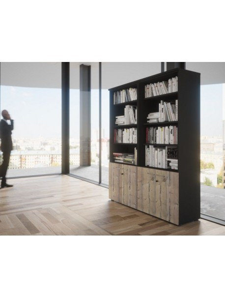 Bibliothèque QUIETUDE avec portes basses - H 201 cm