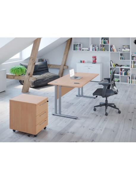 Bureau droit + caisson mobile 3 tiroirs PRIMO