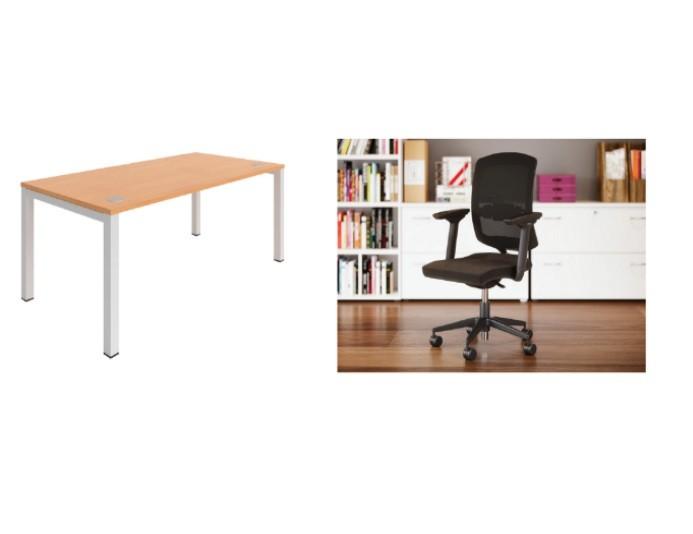 Pack bureau droit + chaise de bureau A6