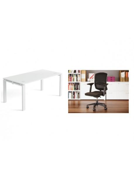Pack bureau droit + chaise de bureau A5
