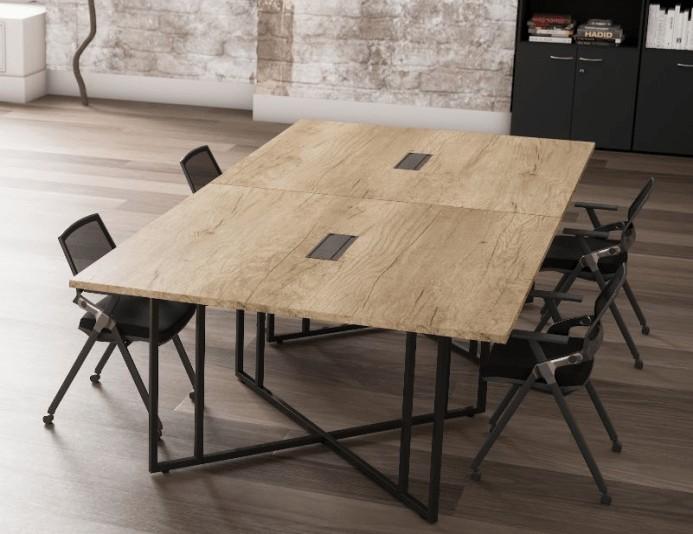 Table de réunion carrée STRICTO SENSU - Chêne Nebraska