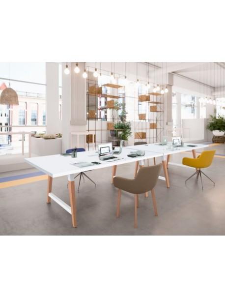 Table de réunion COHESION pieds bois - Blanc