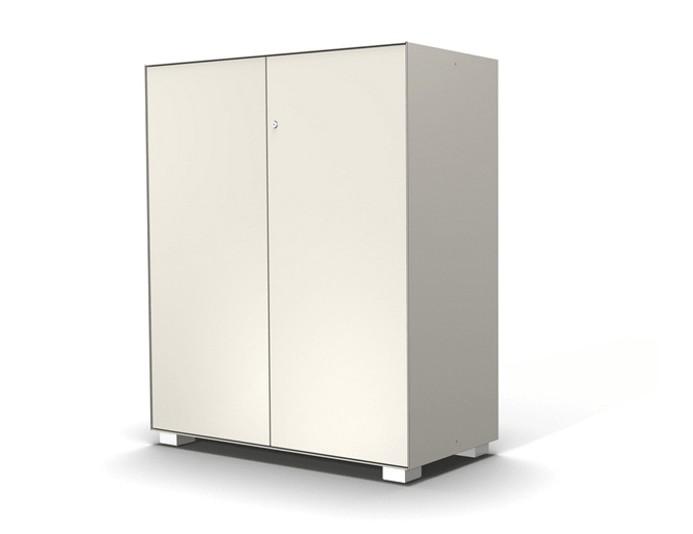 Armoire mi-haute 2 portes PRIMO - L100xH117 cm - Blanc