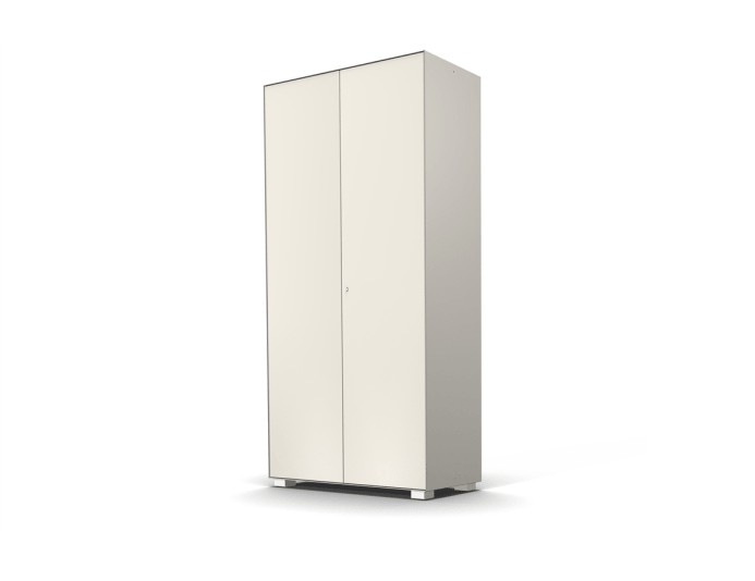 Armoire haute 2 portes PRIMO - L100xH200 cm - Blanc