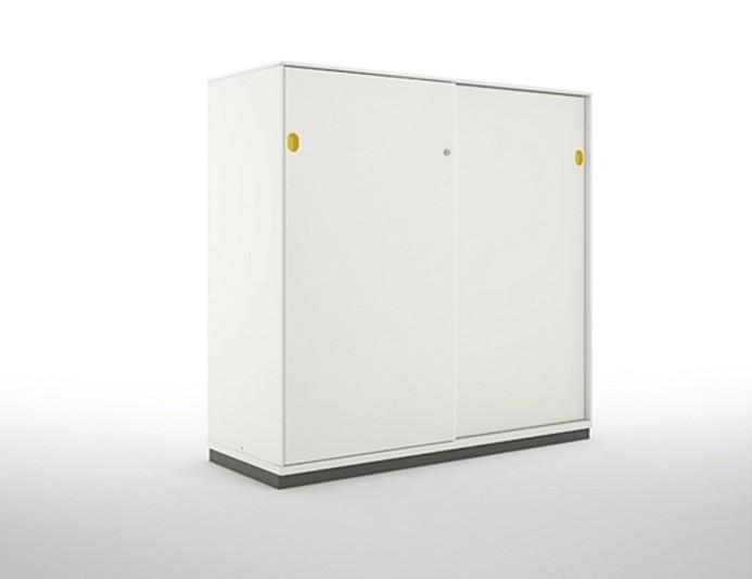 Armoire mi-haute portes coulissantes PRIMO - H117 cm - Blanc