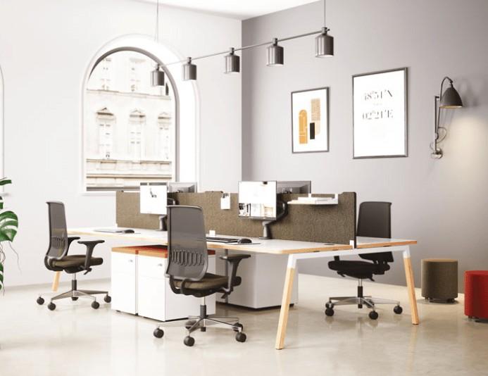 Bureau bench 4 personnes CINETIC - Pieds bois - Blanc
