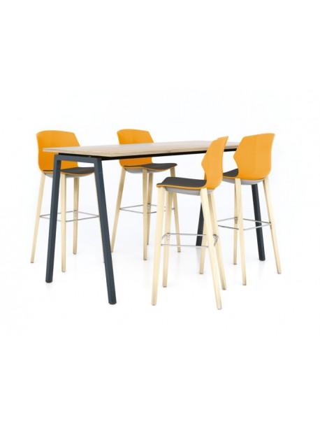 Table haute CINTETIC piétement métallique - Chêne Brut