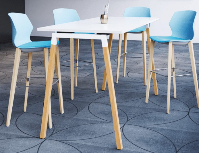 Table haute CINETIC pieds bois