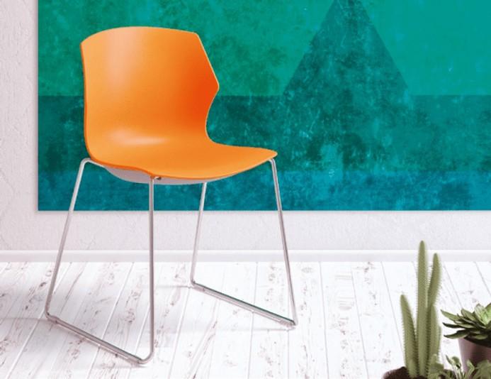 Chaise en polypropylène MY FRILL piétement traineau - Mandarin