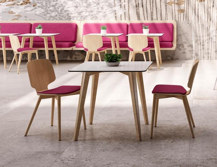 Chaise bois CODE assise tapissée et 4 pieds bois