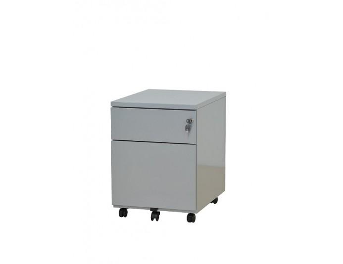 Caisson mobile métal 2 tiroirs dont 1 pour dossiers suspendus Aluminium 9006