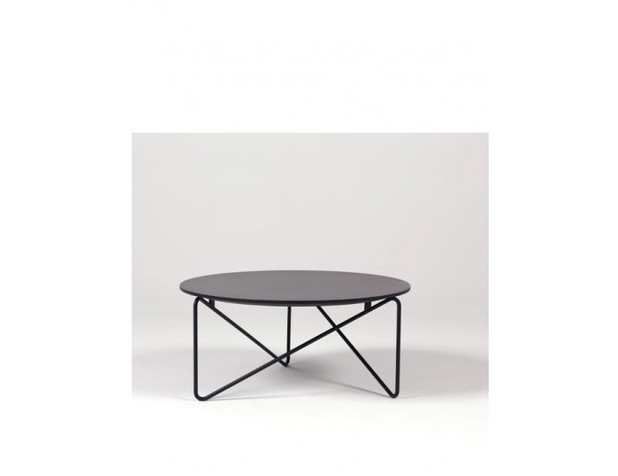 Table basse design Ø 72 cm POLYGON pied noir 9005