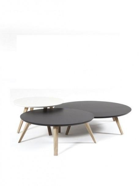 Table basse scandinave ronde OBLIQUE